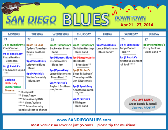 Blues Calendar - Apr 21