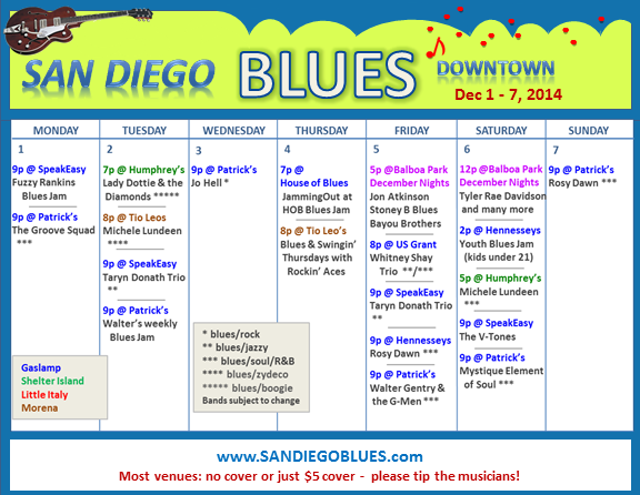 Blues Calendar - Dec 1