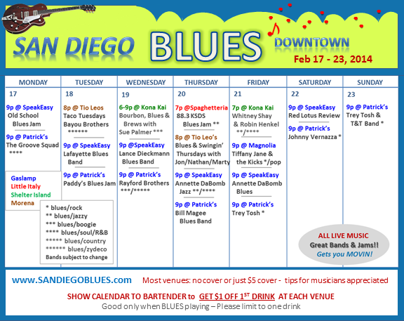Blues Calendar - Feb 17