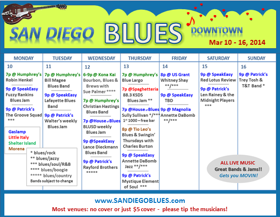 Blues Calendar - Mar 10