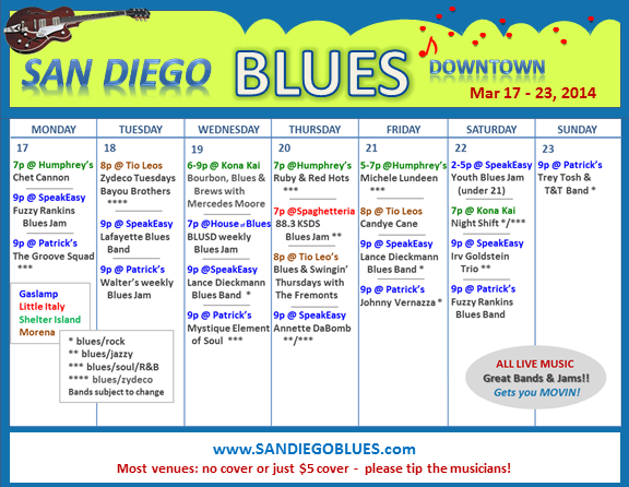 Blues Calendar - Mar 17