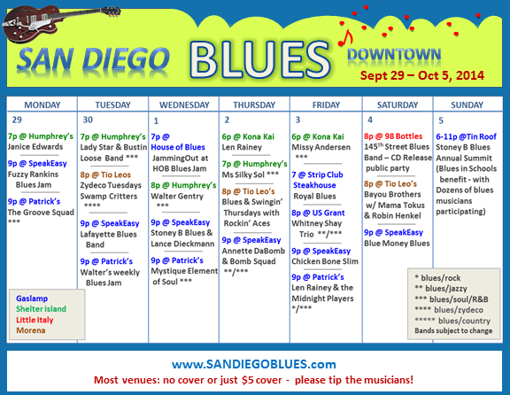 Blues Calendar - Sept 29