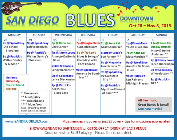 Blues Calendar - Oct 28-Nov 3