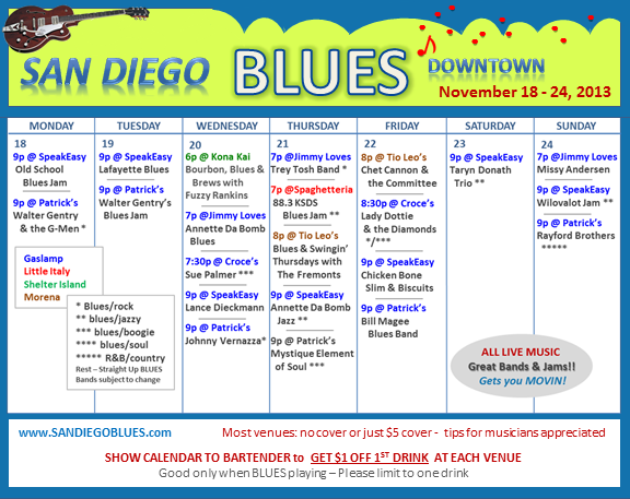 Blues Calendar - Nov 18