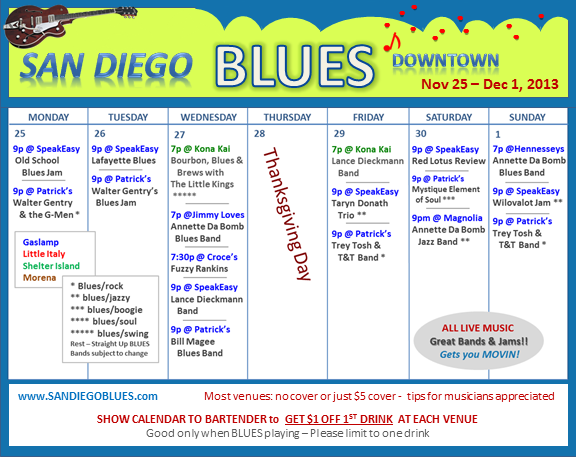 Blues Calendar - Nov 25
