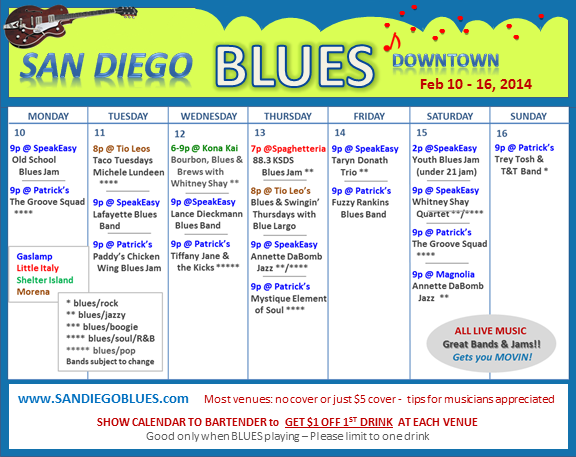 Blues Calendar - Feb 10