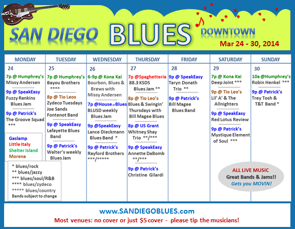 Blues Calendar - Mar 24
