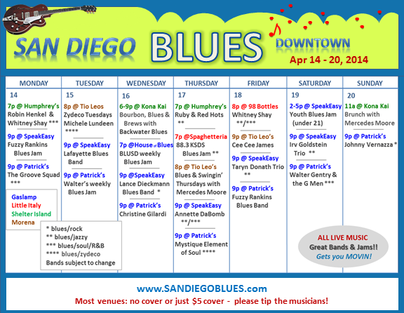 Blues Calendar - Apr 14