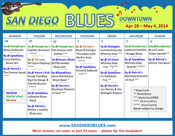 Blues Calendar - Apr 28