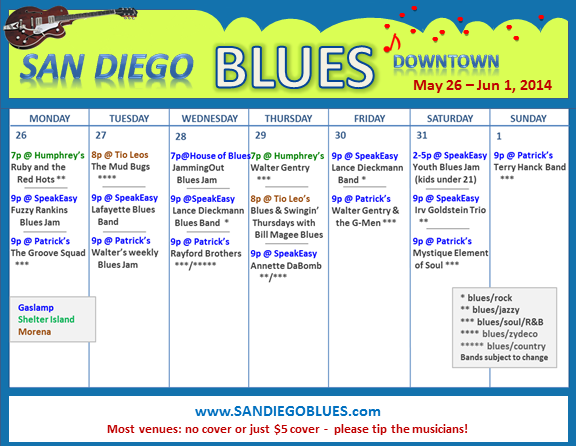 Blues Calendar - May 26