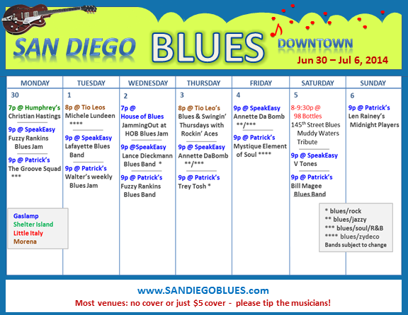 Blues Calendar - Jun 30