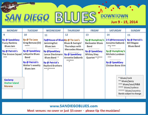 Blues Calendar - Jun 9