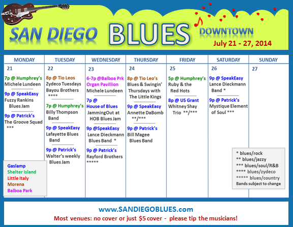 Blues Calendar - July 21