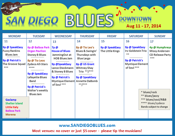 Blues Calendar - Aug 11