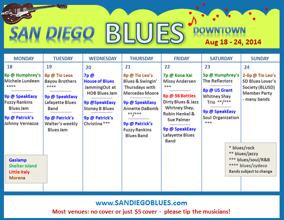 Blues Calendar - Aug 18