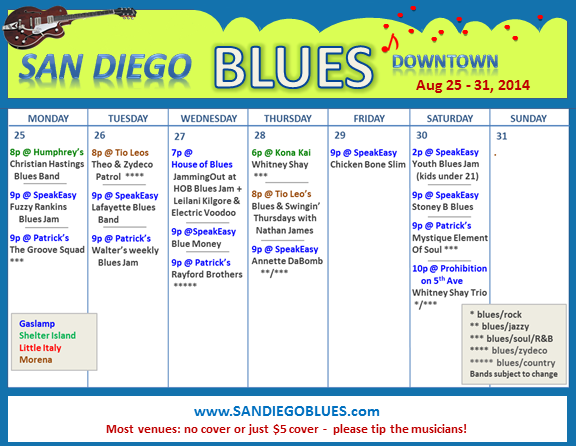 Blues Calendar - Aug 25