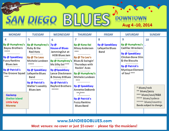 Blues Calendar - Aug 4