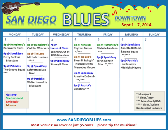 Blues Calendar - Sept 1