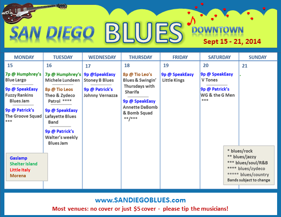 Blues Calendar - Sept 15