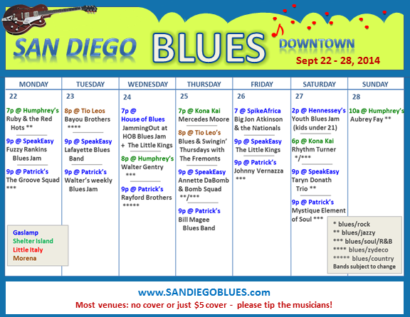 Blues Calendar - Sept 22