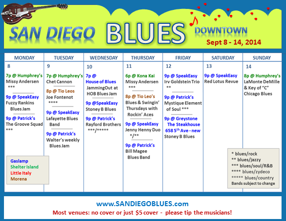 Blues Calendar - Sept 8
