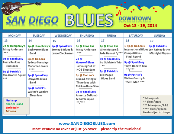 Blues Calendar - Oct 13