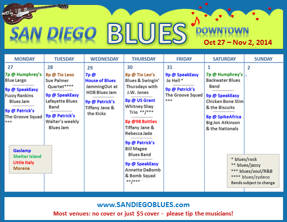 Blues Calendar - Oct 27