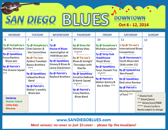 Blues Calendar - Oct 6