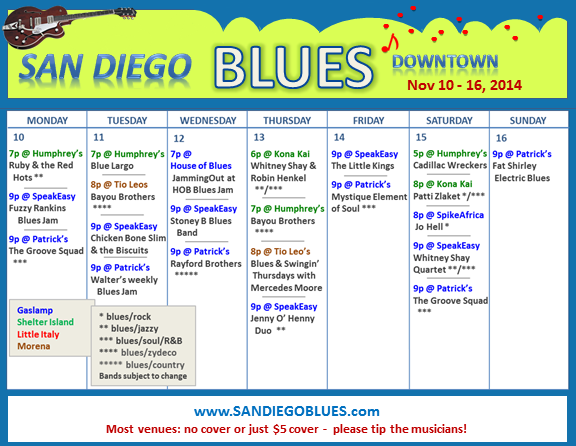 Blues Calendar - Nov 10