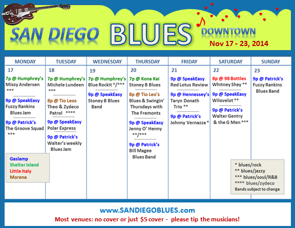 Blues Calendar - Nov 17