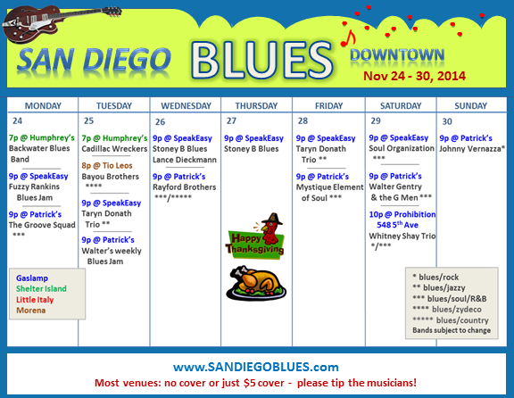 Blues Calendar - Nov 24