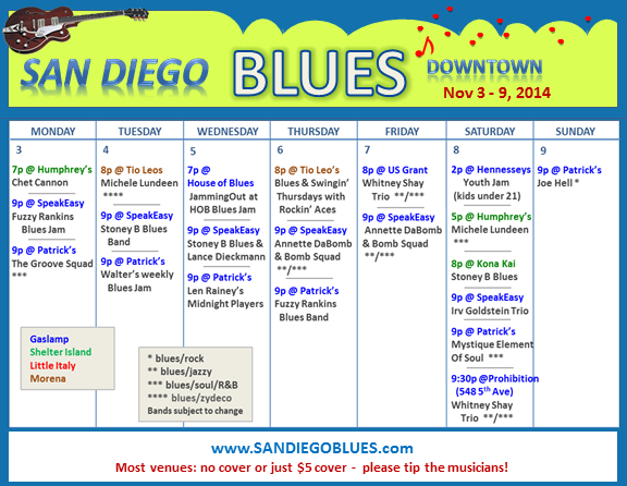 Blues Calendar - Nov 3